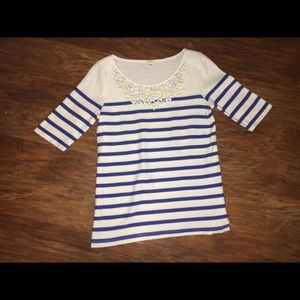 JCREW Blue and White Stripe Embellished Sweater